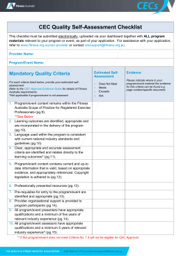 CEC Quality Self-Assessment Checklist