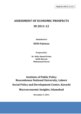 Assessing of Economic Prospects in Paksitan 2011-12