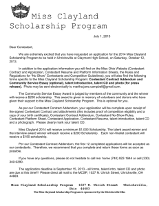 Miss Clayland Scholarship Program