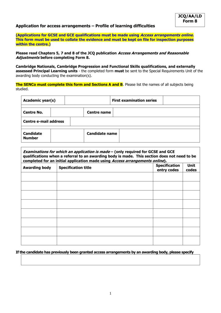 JCQ form 8 - Application for access arrangements