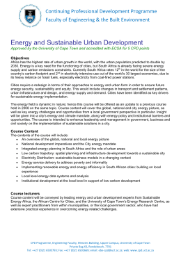 Energy and Sustainable Urban Development