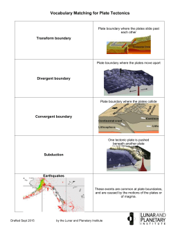 Plate Tectonics Vocabulary Matching