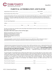 ML-1: Parental Authorization and Waiver
