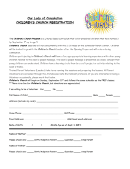 Children`s Church Registration
