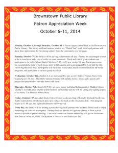 Patron Appreciation Week - Brownstown Public Library