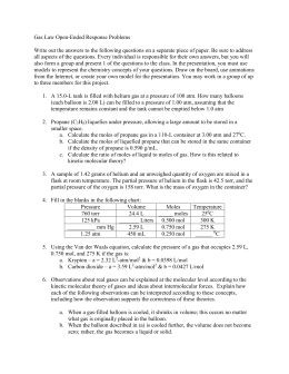 Gas Law Open-Ended Response Problems Write out the answers to