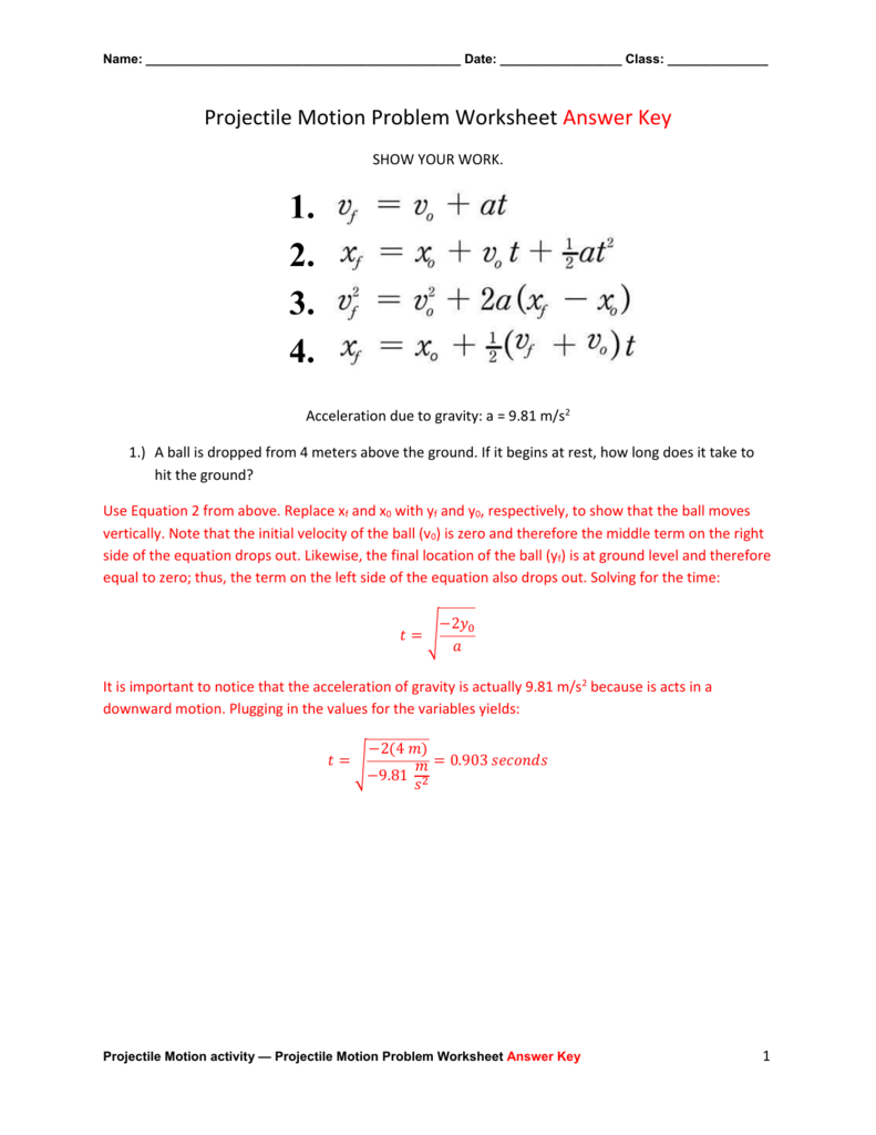 Projectile Motion Problem Worksheet Answer Key