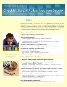 DSM-5 Autisim Spectrum Diagnostic checklist