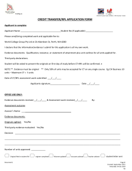 Credit Transfer (RPL) Form