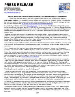 press release - United Way of Greater Cincinnati