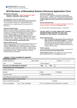 Application form - Faculty of Medicine, Nursing and Health Sciences