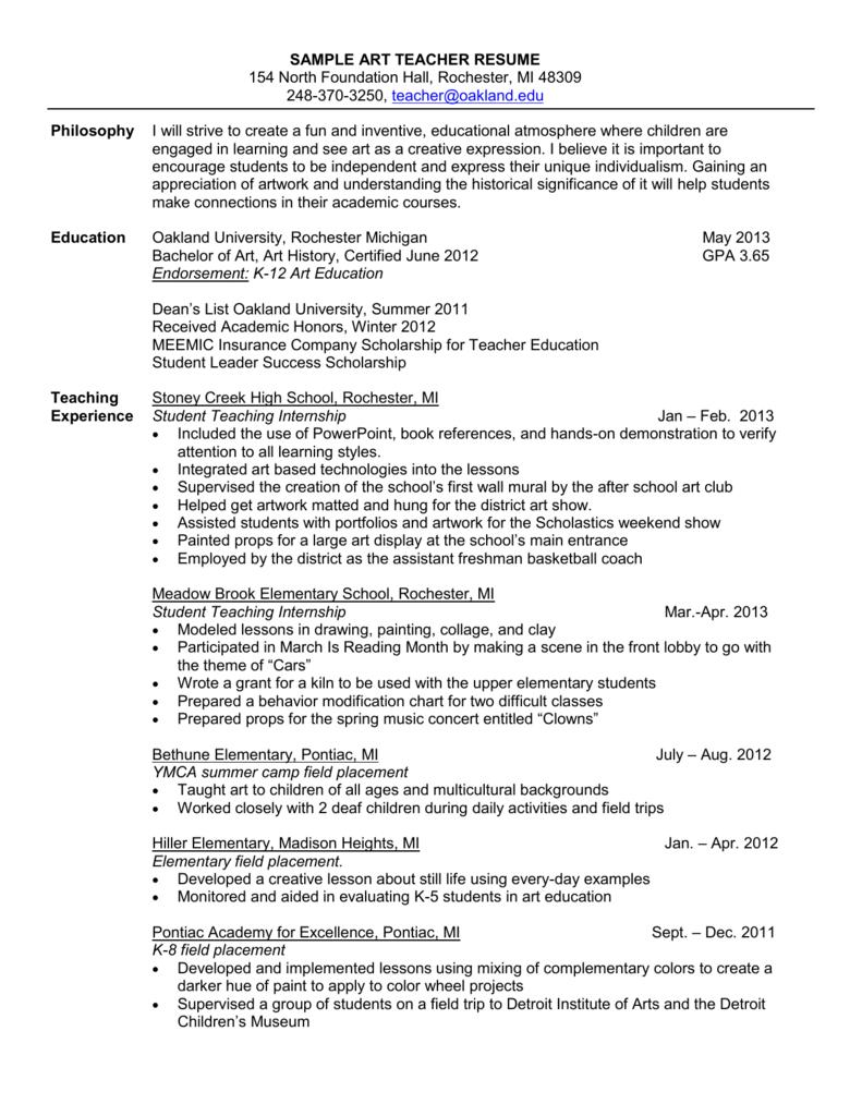 Sample K 12 Art Resume