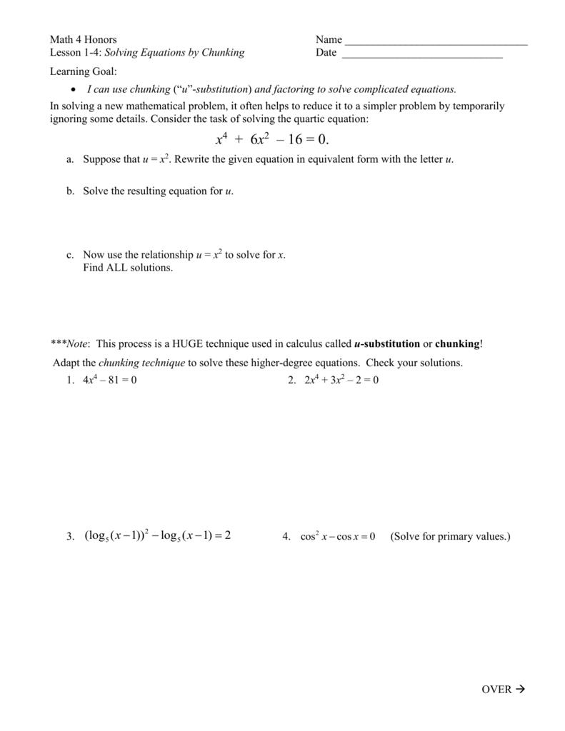worksheet U Substitution Worksheet lesson 1 4 guided worksheet