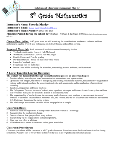 Syllabus and Classroom Management Plan for 8th grade Pre