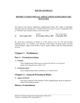 District Court Special Applications Supplementary Rules 2014