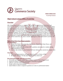 High School Liaison (HSL) Frosh Rep Overview