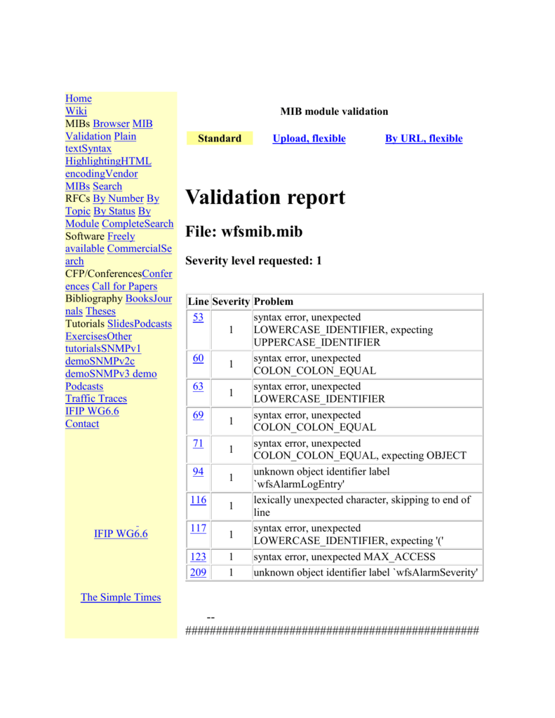 Validation report File: wfsmib mib Severity level