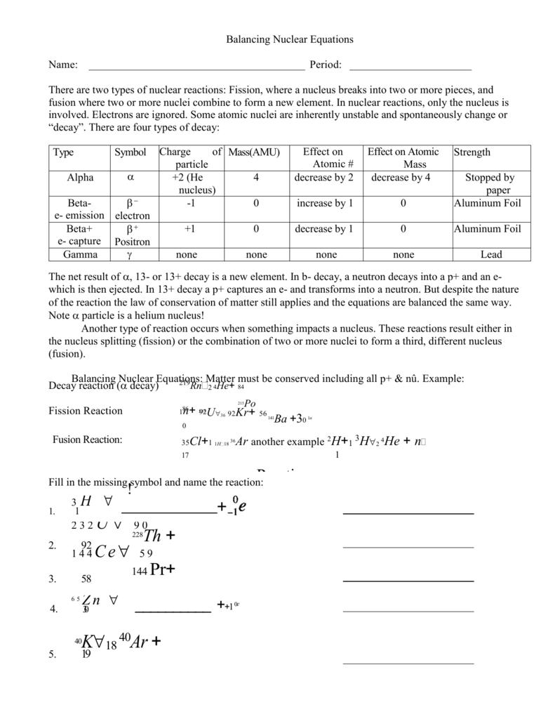 Balancing Nuclear Reactions23 Regarding Balancing Nuclear Equations Worksheet Answers