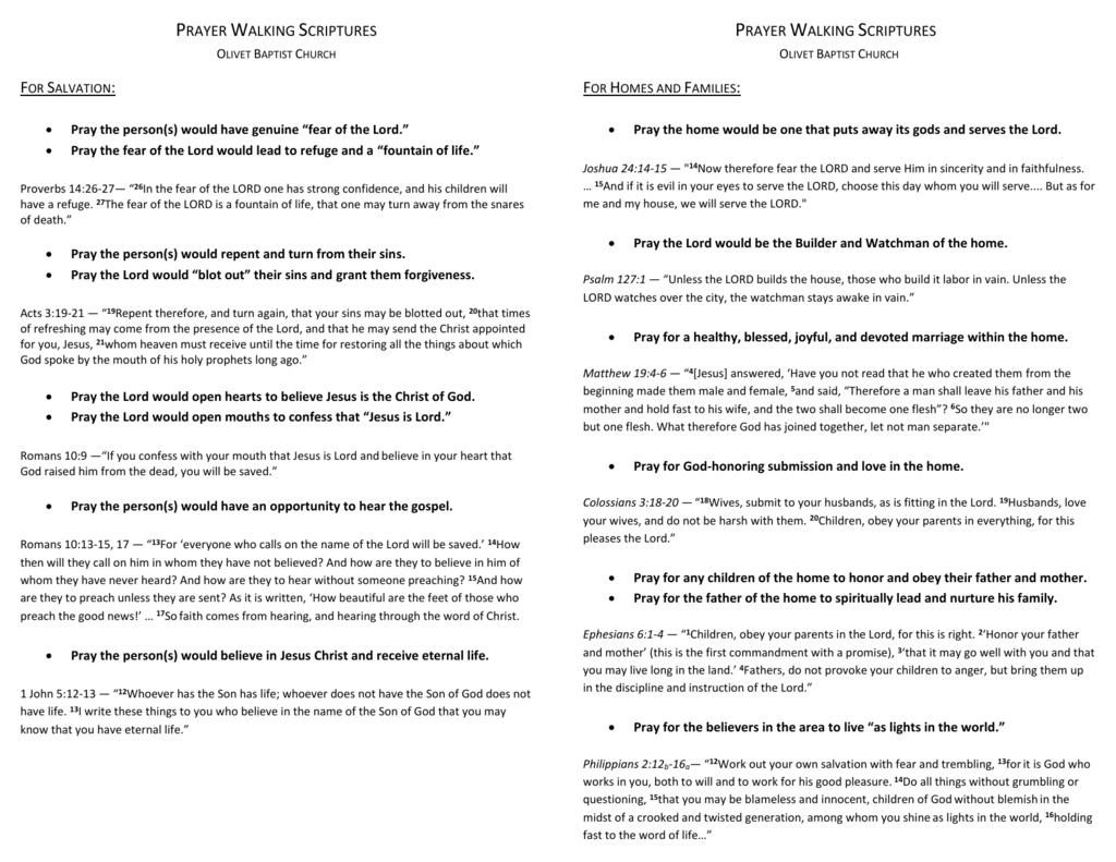 Prayer Walking Scriptures