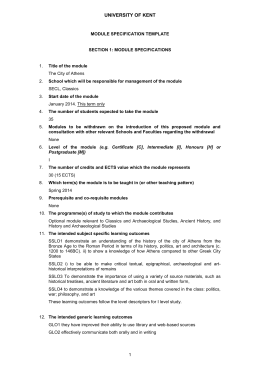 UNIVERSITY OF KENT MODULE SPECIFICATION TEMPLATE