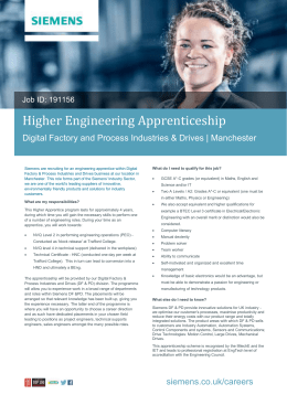 Higher Engineering Apprenticeship Digital Factory and Process