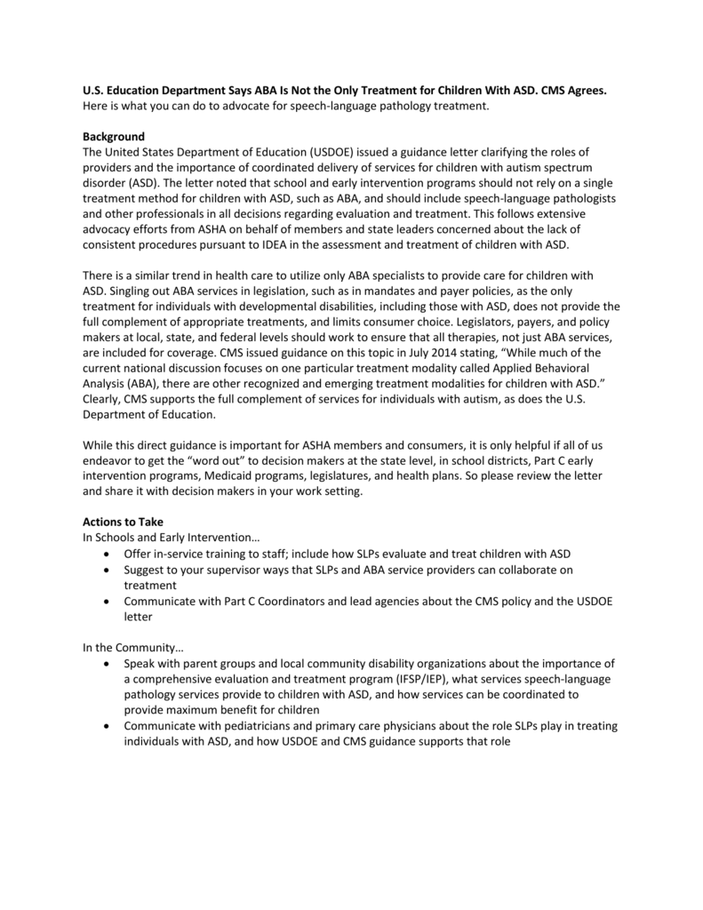 DOE/CMS Guidance Cover Letter - Oregon Speech and Hearing