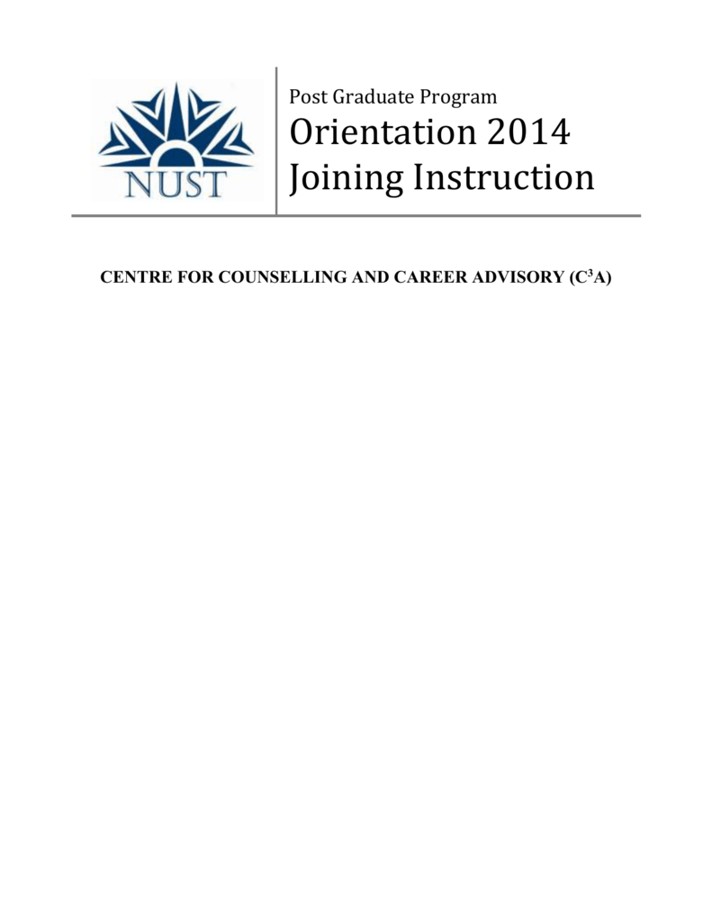 Joining Instructions for Fall Batch - National University of