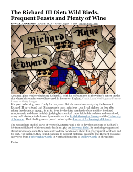 The Richard III Diet: Wild Birds, Frequent Feasts and - School-One