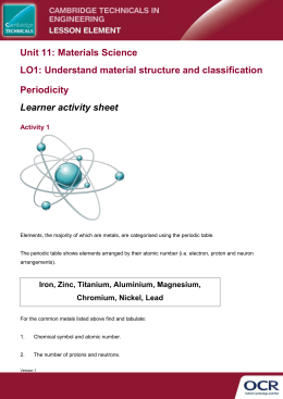 Unit 11 - Periodicity lesson element - Learner Task