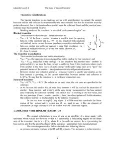 Laboratory work 9 The study of bipolar transistor Theoretical