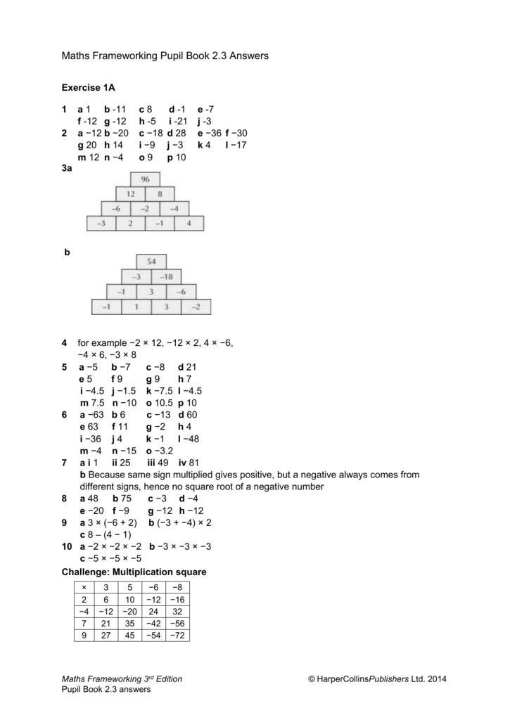 Maths Frameworking Pupil Book 2.3 Answers Exercise 1A 1 a 1 b