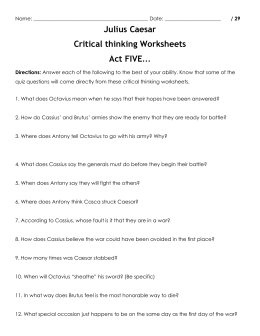 Julius Caesar Critical thinking Worksheets Act FIVE…
