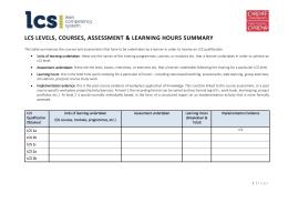 LCS Levels, Courses, Assessment & Learning hours Summary