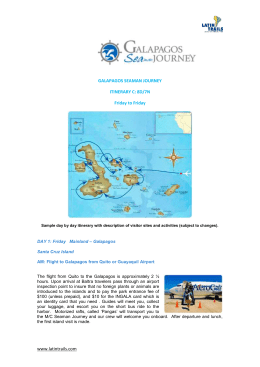 GALAPAGOS SEAMAN JOURNEY ITINERARY C: 8D/7N Friday to
