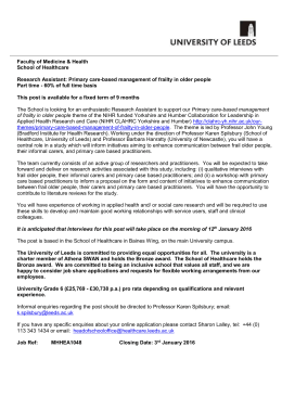 Job Description - Jobs at the University of Leeds