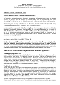 Sixth Form Admissions policy 2016-2017