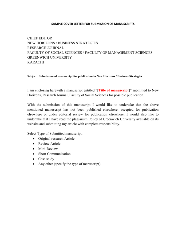 Sample Cover Letter For The Submission Of Manuscript