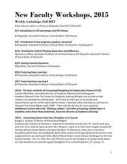 New Faculty Workshops, 2015 Weekly workshops, Fall 2015