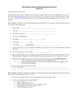 respirator medical questionnaire form