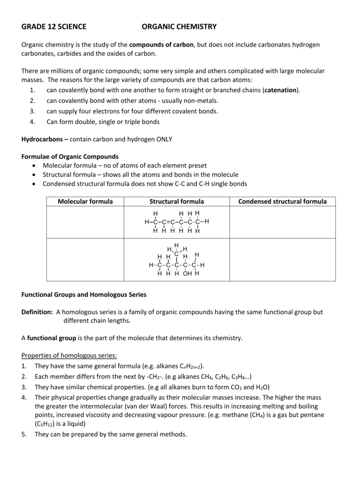 grade 12 science organic chemistry