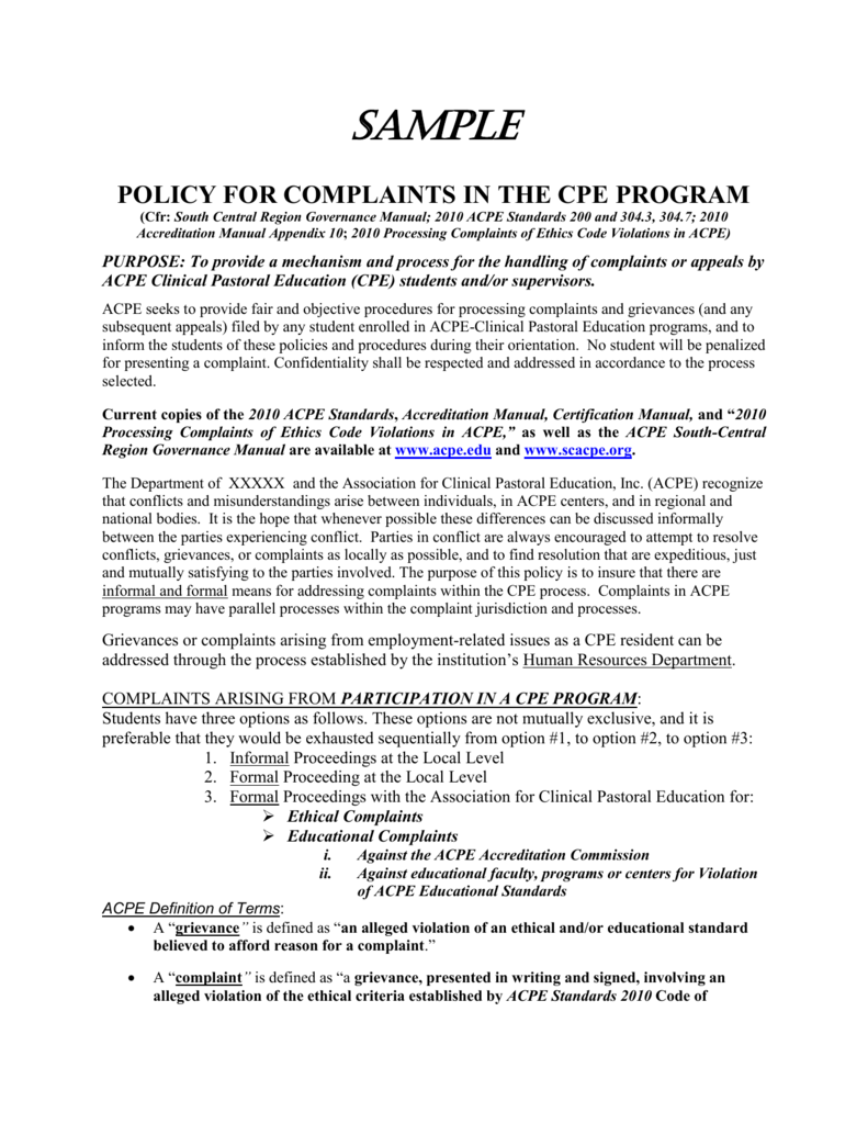 Sample Policy For Complaints In The Cpe Program