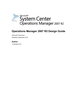 Introduction to the Operations Manager 2007 R2