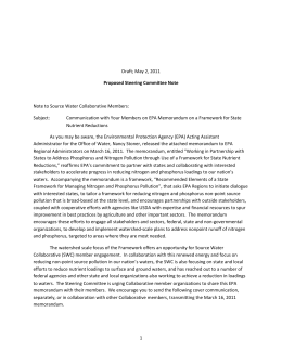 Nutrients Memo Cover Letter - Source Water Collaborative