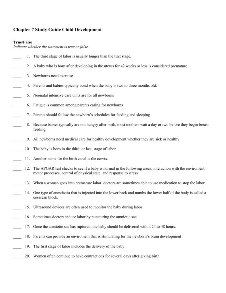Chapter 7 Study Guide Child Development