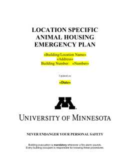 Disaster/Emergency Plan Template for Animal Housing Sites