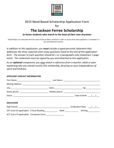2015 Ferree Need Based Scholarship Application Form
