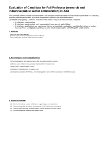 Evaluation Form Full Professor research and industrial/public sector