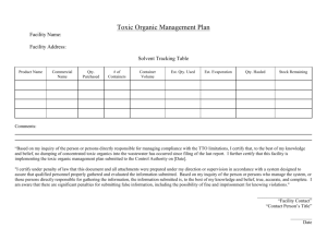 Toxic Organic Management Plan
