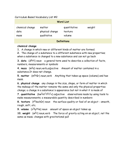 Curriculum Based Vocabulary List #2 Word List chemical change