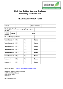 team registration form - Midlothian Council Outdoor Learning Service